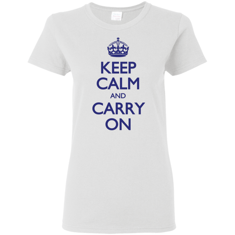 Keep Calm & Carry On - Blue Text - Women's T-Shirt