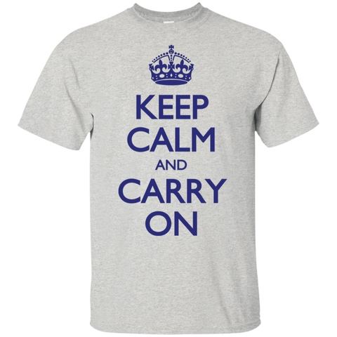 Keep Calm & Carry On - Blue Text - Men's T-Shirt