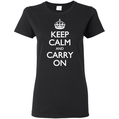 Keep Calm & Carry On - White Text - Women's T-Shirt