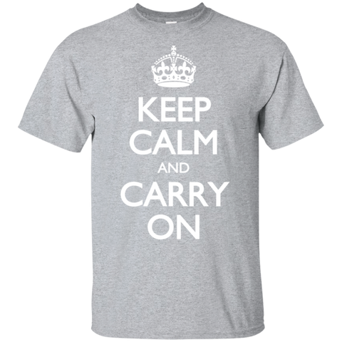 Keep Calm & Carry On - White Text - Men's T-Shirt