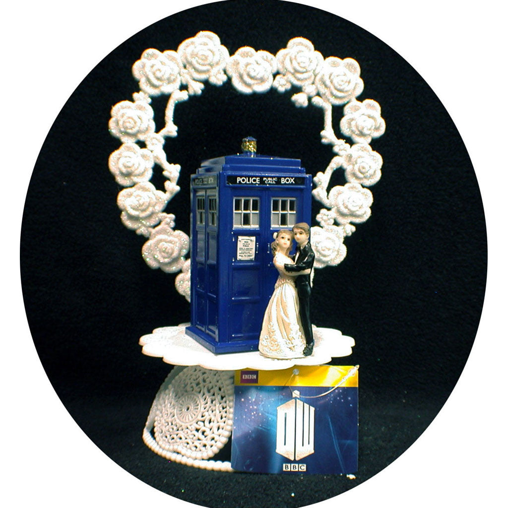 Doctor Who Tardis Bride & Groom Wedding Cake Topper -  -  Little British Shop