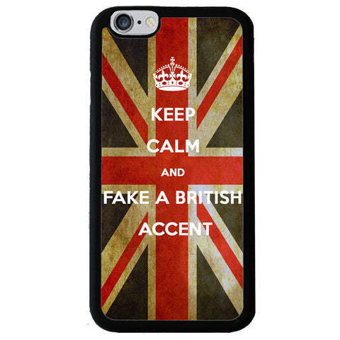 Keep Calm And Fake A British Accent UK Flag - Rubber Phone Case Back Cover - iPhone 6/6s -  Little British Shop - 1
