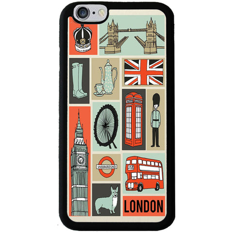 London Illustrated Rubber Phone Case - iPhone 6/6s -  Little British Shop