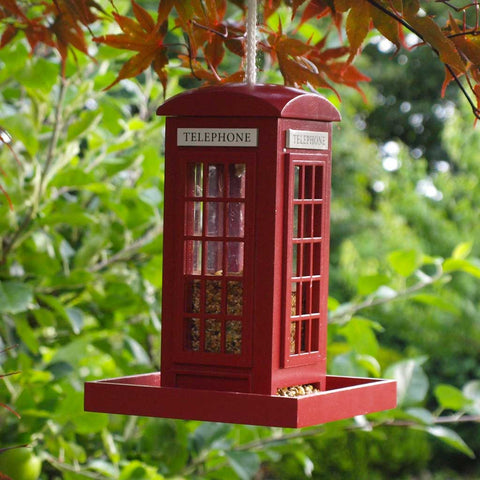 Red Telephone Booth Bird Feeder -  -  Little British Shop - 1
