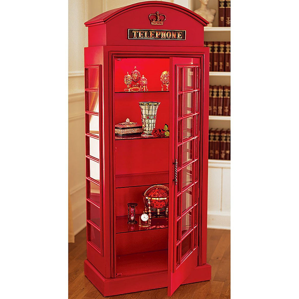 British Red Telephone Booth Cabinet Little British Shop