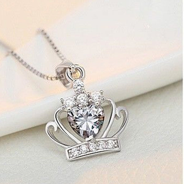 Queen Elizabethian Crystal Crown 925 Sterling Silver Necklace - Silver -  Little British Shop - 4