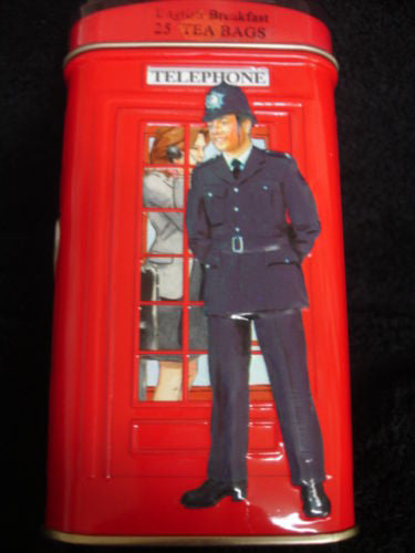 H.M. British Red Telephone Booth Tea Gift Tin - Includes 25 Tea Bags -  -  Little British Shop - 1