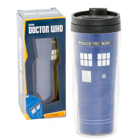 Doctor Who Tardis 12 oz. Travel Mug Flask -  -  Little British Shop - 1