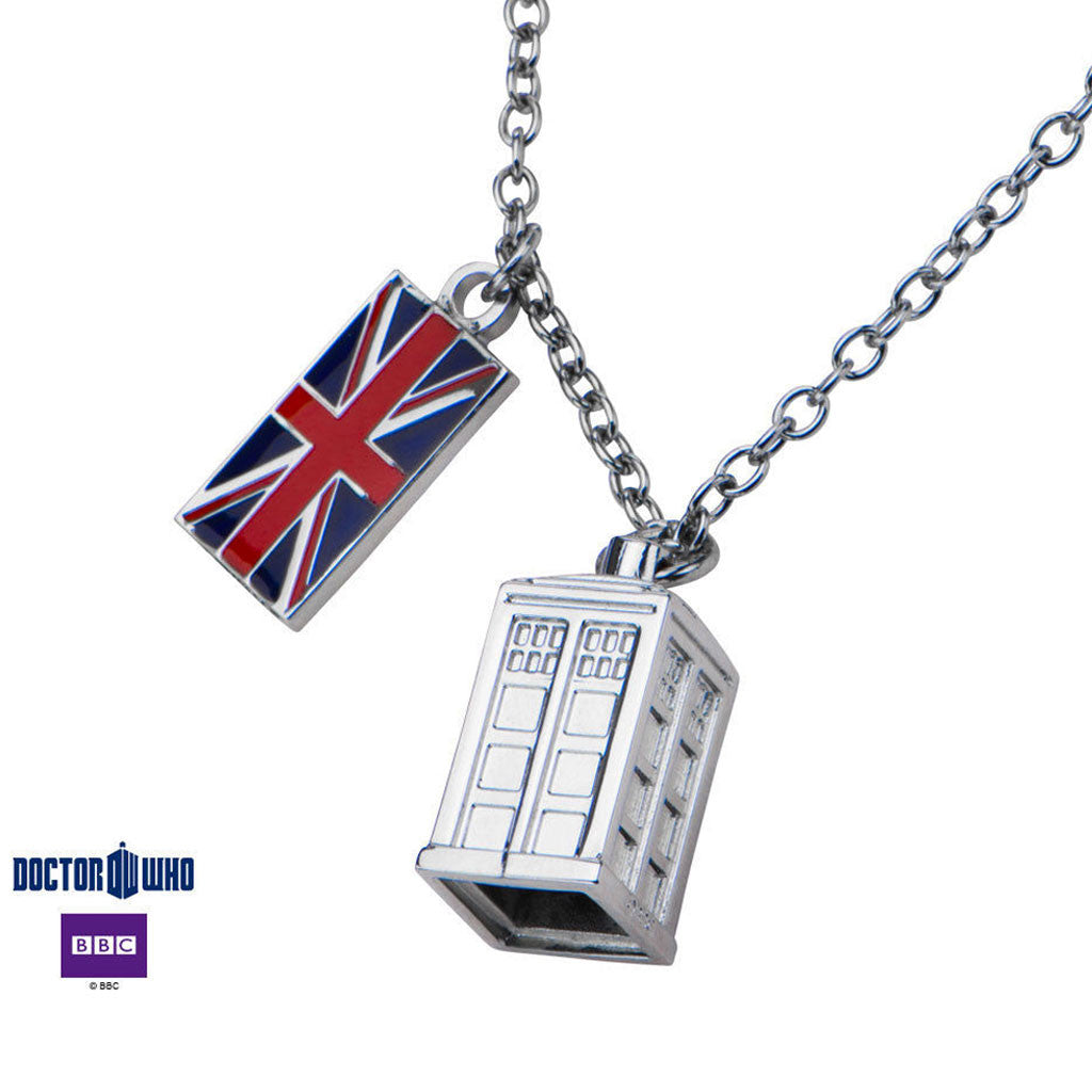 Doctor Who Tardis Pendant Necklace With UK Flag Charm & Chain -  -  Little British Shop - 1