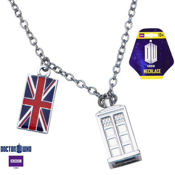 Doctor Who Tardis Pendant Necklace With UK Flag Charm & Chain -  -  Little British Shop - 2