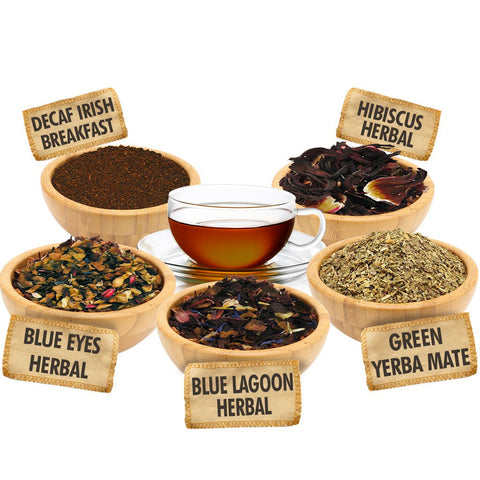 You Time Sampler 1 ounce Pouches of 5 Beautiful Loose Leaf Teas -  -  Little British Shop