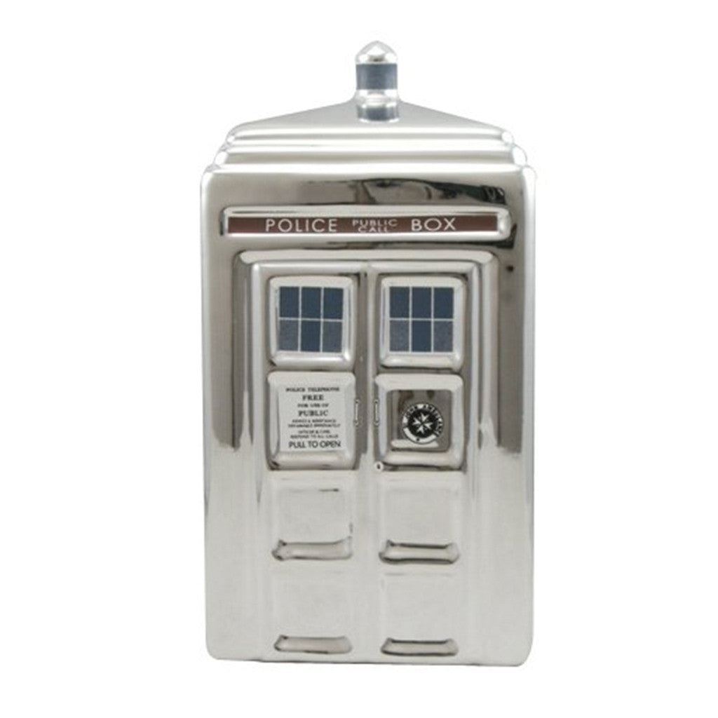 Doctor Who Silver TARDIS Ceramic Money Bank -  -  Little British Shop