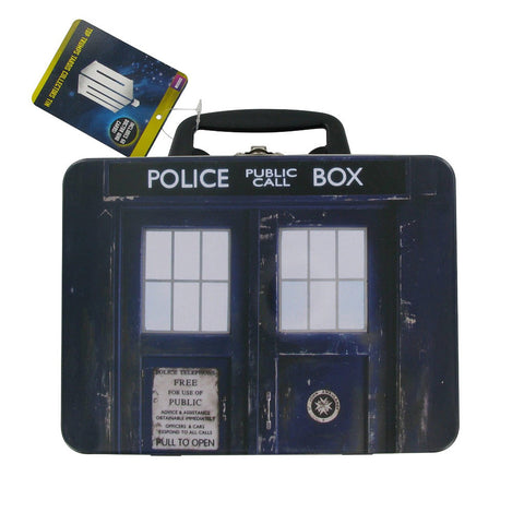 Doctor Who Top Trumps Game with TARDIS Lunch Box Collection Tin -  -  Little British Shop
