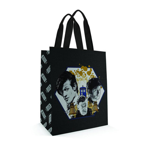 Doctor Who Small Tote Bag: Doctors Hexagon -  -  Little British Shop