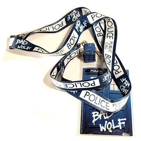 "Doctor Who ""Bad Wolf"" Lanyard with 3D TARDIS Charm -  -  Little British Shop"