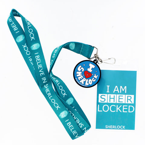 Sherlock Holmes Lanyard: I Am Sherlock Teal with 2D Heart Sherlock Charm -  -  Little British Shop