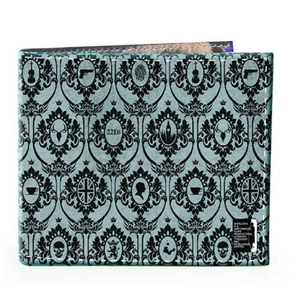 Sherlock Holmes Men's Bi-Fold Wallet: 221B Wallpaper (Grey) -  -  Little British Shop