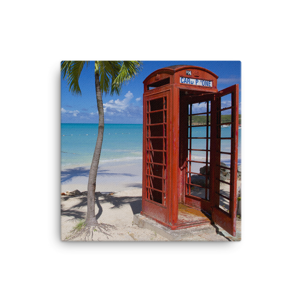 "Red Telephone Booth in The Caribbean, Antigua, Dickenson Bay, English - 16"" X 16"" -  Little British Shop - 4"