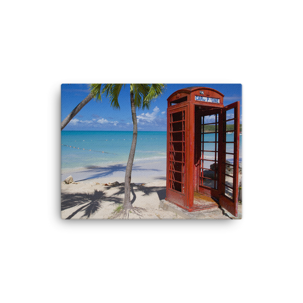 "Red Telephone Booth in The Caribbean, Antigua, Dickenson Bay, English - 12"" X 16"" -  Little British Shop - 3"