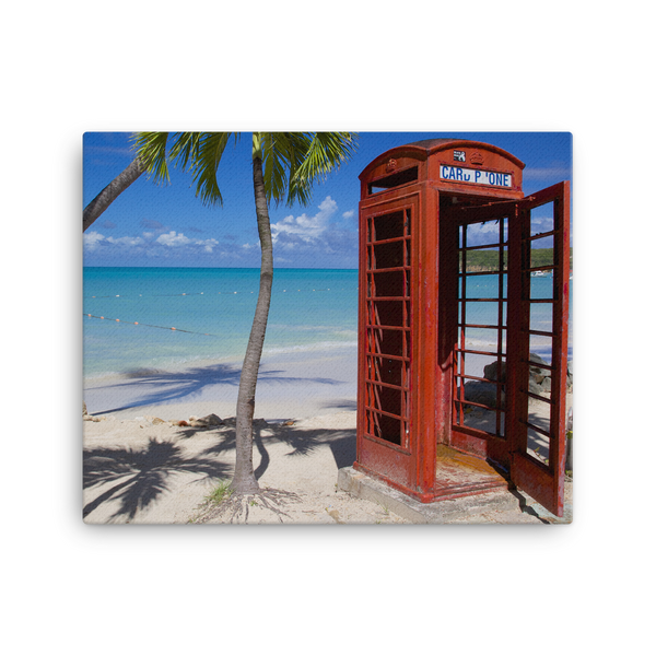 "Red Telephone Booth in The Caribbean, Antigua, Dickenson Bay, English - 16"" X 20"" -  Little British Shop - 5"