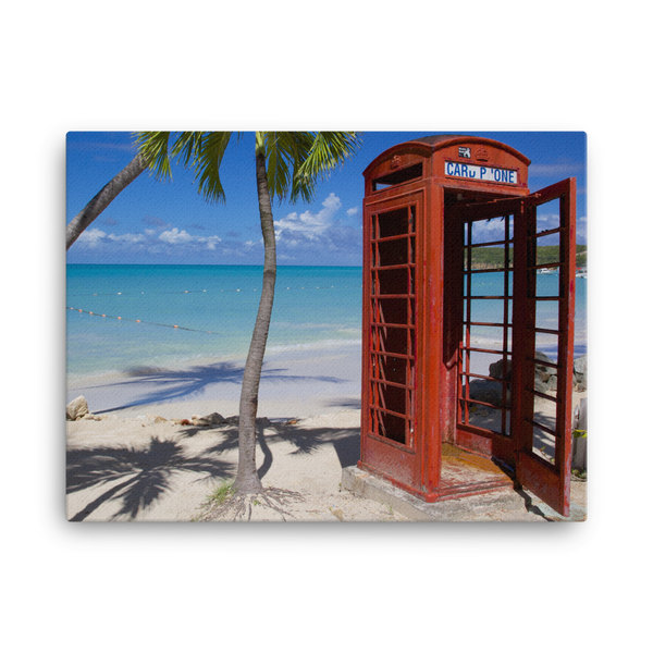 "Red Telephone Booth in The Caribbean, Antigua, Dickenson Bay, English - 18"" X 24"" -  Little British Shop - 2"