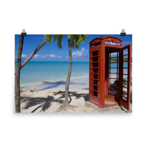 Red Telephone Booth in The Caribbean, Antigua, Dickenson Bay, English - 24×36 -  Little British Shop - 11