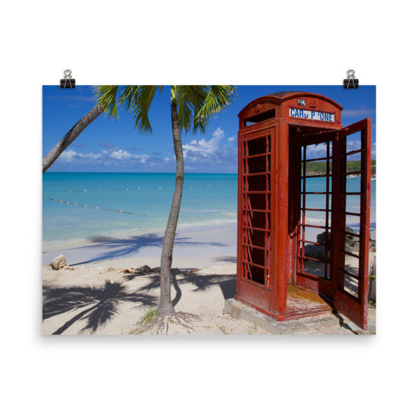 Red Telephone Booth in The Caribbean, Antigua, Dickenson Bay, English - 18×24 -  Little British Shop - 9