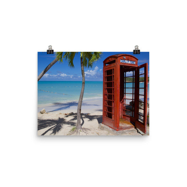 Red Telephone Booth in The Caribbean, Antigua, Dickenson Bay, English - 12×16 -  Little British Shop - 8