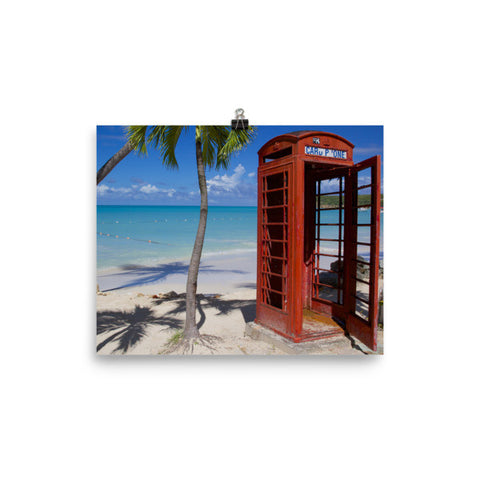 Red Telephone Booth in The Caribbean, Antigua, Dickenson Bay, English - 8×10 -  Little British Shop - 1