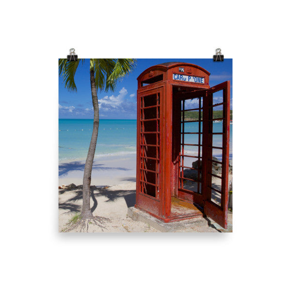 Red Telephone Booth in The Caribbean, Antigua, Dickenson Bay, English - 14×14 -  Little British Shop - 5