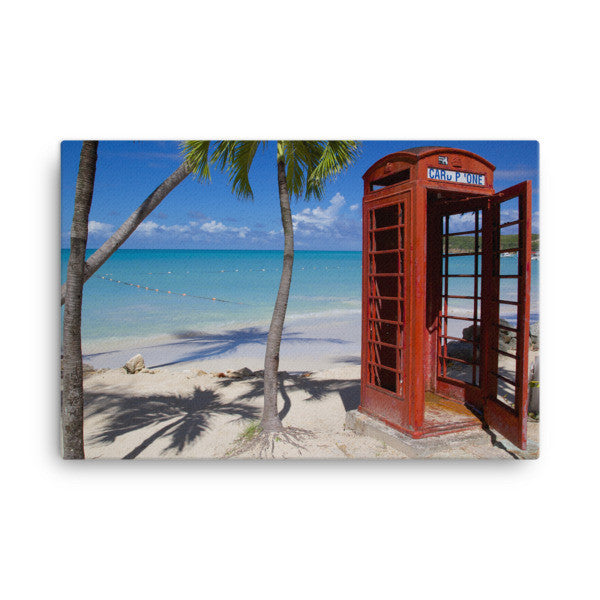 "Red Telephone Booth in The Caribbean, Antigua, Dickenson Bay, English - 24"" X 36"" -  Little British Shop - 1"
