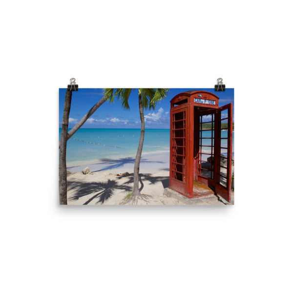 Red Telephone Booth in The Caribbean, Antigua, Dickenson Bay, English - 12×18 -  Little British Shop - 10