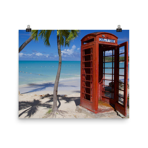 Red Telephone Booth in The Caribbean, Antigua, Dickenson Bay, English - 16×20 -  Little British Shop - 2