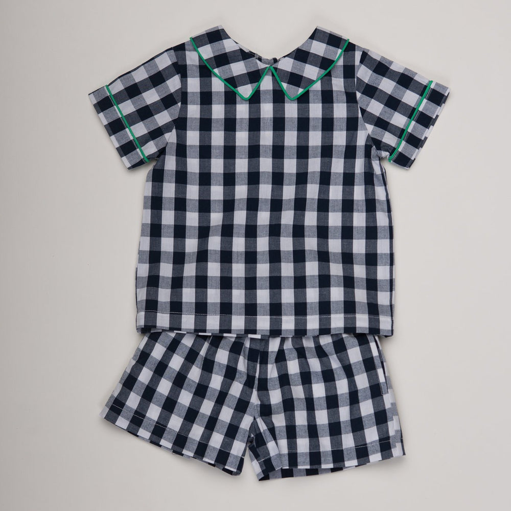 Brad Navy Check Short Sleeve Short Set