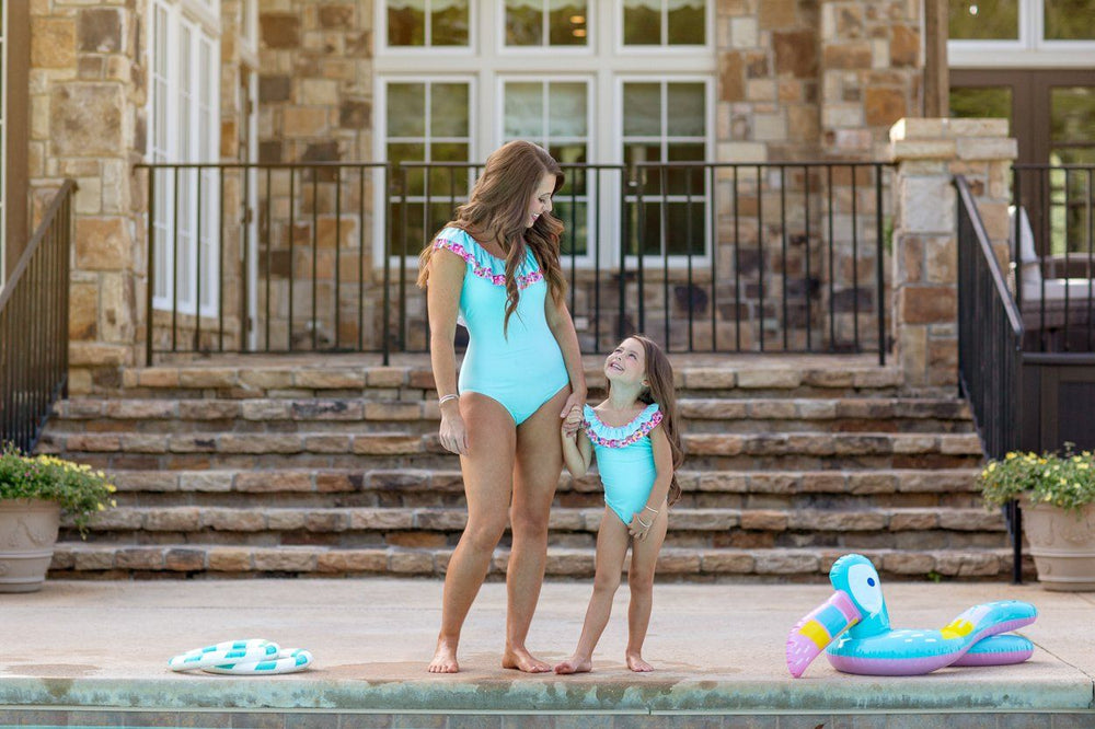 Aqua One Piece Mom Swimsuit