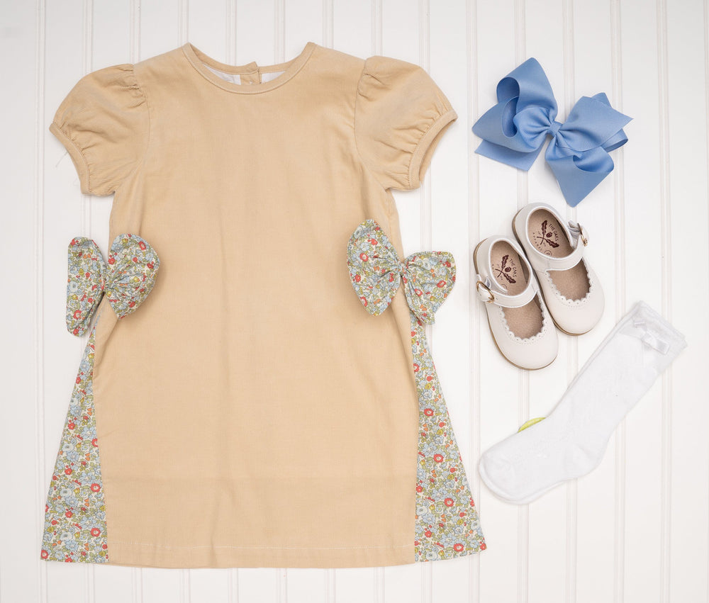Everleigh Tan Bow Tie Dress