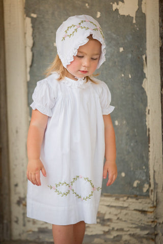 """Bella"" Hand Embroidered Floral Dress in White"