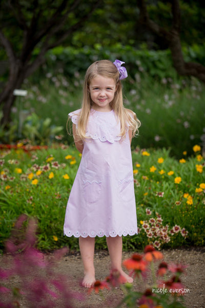 Jennifer Embroidered Dogwood Scalloped Collar Dress in Lavender