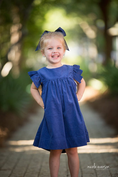 Charlotte Girls Cord Dress in Royal Blue