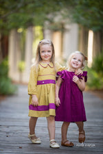 Sophia Girls Dress in Mustard/Purple-