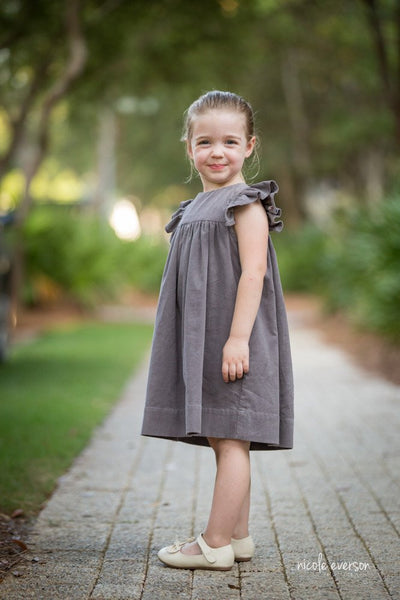Charlotte Girls Cord Dress in Ashen Grey