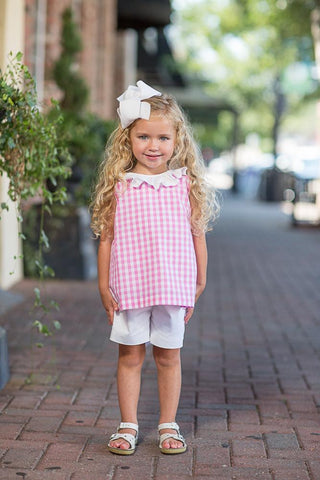 Reese Pink Buffalo Check Shorts Set-