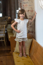 Joy Girls Flutter Sleeve Linen Shirt White SS18-