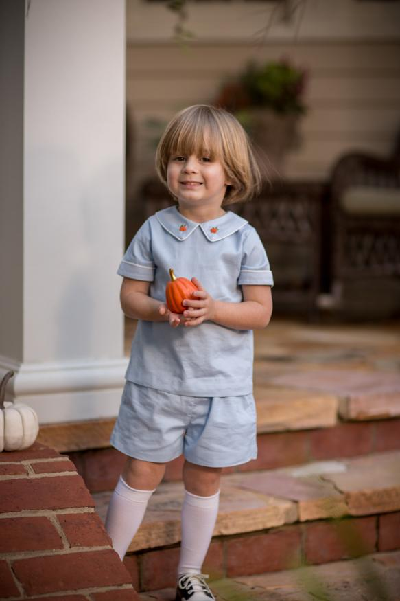 Carter  Boys Pumpkin Short Set Fall18 Fave