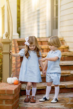Crystal Blue Pique Pumpkin Dress, Girls Fall18 Fave