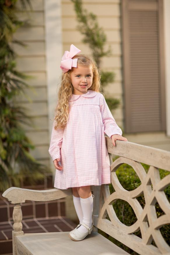 """Kaitlin"" Pink Windowpane Dress, Girls Fall18 Fave"