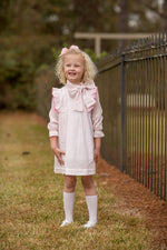 """Landry"" Pink Bitty Dot Bow Dress, Girls Fall18 Fave-"