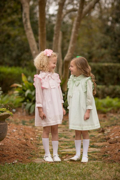 """Landry"" Pink Bitty Dot Bow Dress, Girls Fall18 Fave"
