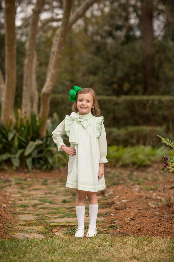 """Landry"" Green Bitty Dot Bow Dress, Girls Fall18 Fave-"
