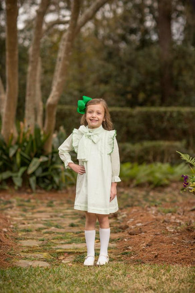 """Landry"" Green Bitty Dot Bow Dress, Girls Fall18 Fave"